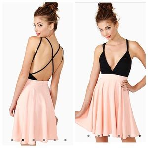 Nasty gal off the deep end pink and black dress S